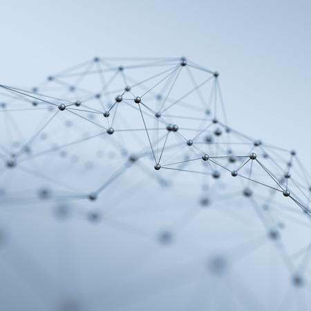 conexiones: Resumen representación 3D de estructura caótica. Fondo ligero con las líneas y las esferas en el espacio vacío. Forma futurista. Foto de archivo