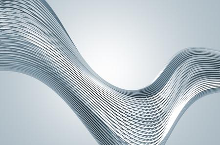Abstract 3d-weergave van high-tech metalen structuur. Achtergrond met chromen lijnen in de lege ruimte. Futuristische staal vorm.