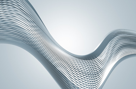 Abstract 3d rendering of high tech metal structure. Background with chrome lines in empty space. Futuristic steel shape.