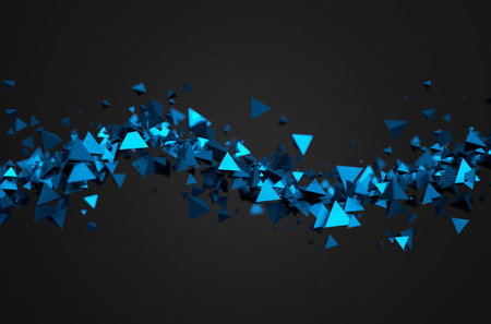 abstract: Abstract 3d rendering of chaotic particles. Sci fi pyramids in empty space. Futuristic background.