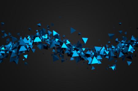 molecula: Resumen representación 3D de partículas caóticas. Pirámides ciencia ficción en el espacio vacío. Fondo futurista.
