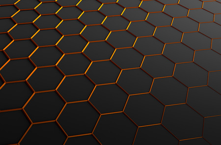 Abstract 3d rendering of futuristic surface with hexagons. Dark sci-fi background.