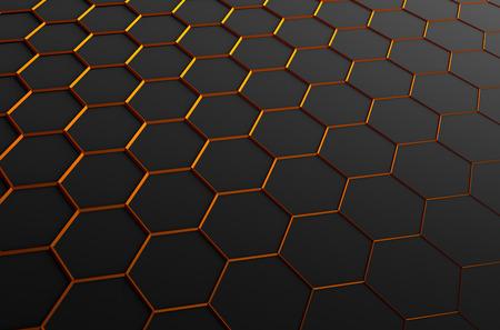 naranja: Resumen representación 3D de superficie futurista con hexágonos. Fondo oscuro de la ciencia ficción. Foto de archivo