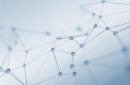 Résumé de rendu 3D de la structure chaotique. Fond clair avec des lignes et des sphères dans l'espace vide. Forme futuriste. Banque d'images - 43550523