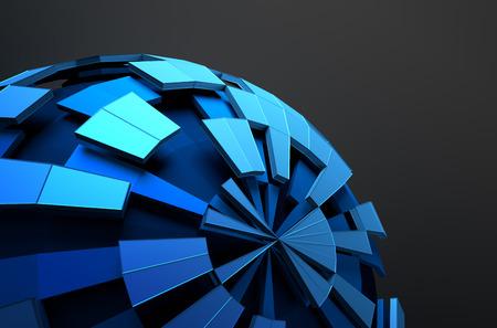 Streszczenie 3d utylizacyjnej z niskim poli niebieskiej kuli z chaotycznej strukturze. Sci-fi tło z szkielet i na świecie w pustej przestrzeni. Futurystyczny kształt.