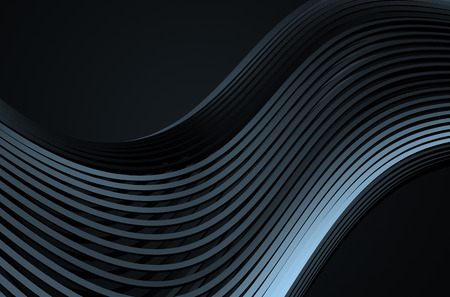 Abstract 3d rendering of high tech metal structure. Dark background with chrome lines in empty space. Futuristic steel shape. 写真素材