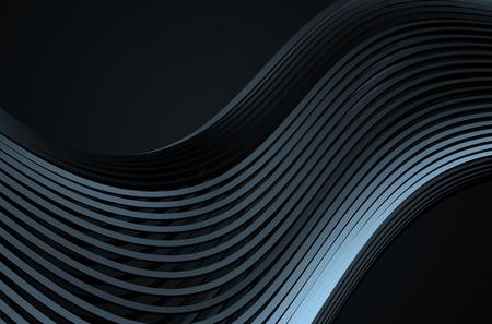 첨단 금속 구조의 추상 3d 렌더링합니다. 빈 공간에 크롬 라인 어두운 배경입니다. 미래 철강 모양.