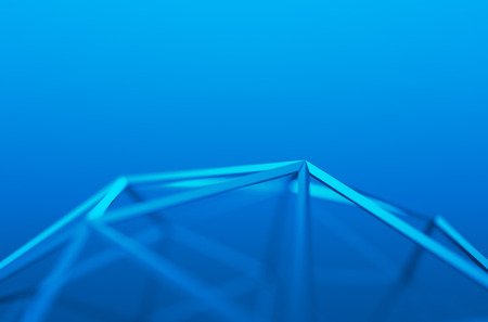Abstract 3d rendering of blue shape. Background with futuristic low poly lines.