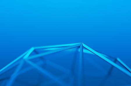 Abstrakt 3d-rendering blaue Form. Hintergrund mit futuristischen Low-Poly-Linien. Standard-Bild - 43701614