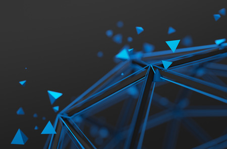 Abstract 3d rendering of low poly structure. Sci-fi background with wireframe and particles in empty space. Futuristic shape. Stockfoto
