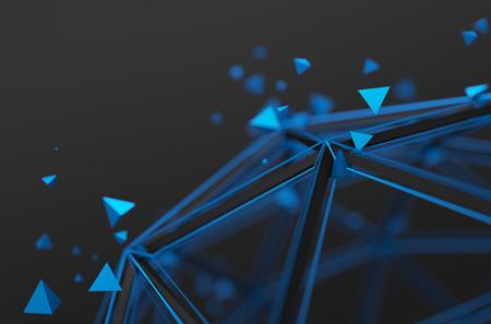 Abstracte 3D-weergave van lage poly structuur. Sci-fi achtergrond met wireframe en deeltjes in de lege ruimte. Futuristische vorm.