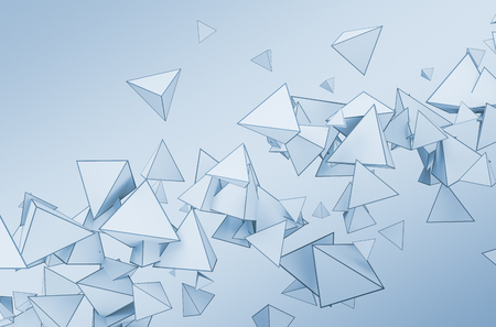 Abstract 3d rendering of chaotic shapes. Flying pyramids in empty space. Futuristic background.