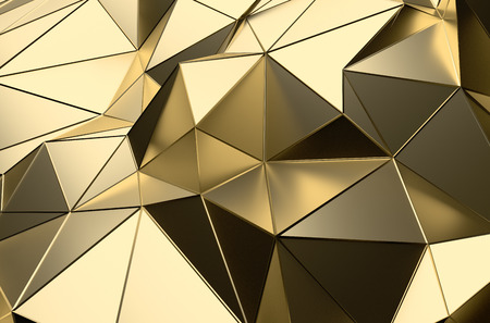 Abstract 3D-rendering van gouden oppervlak. Futuristische achtergrond met lijnen en lage poly vorm. Stockfoto