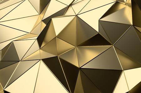 Abstrakte 3D-Rendering von Goldoberfläche. Futuristische Hintergrund mit Linien und Low-Poly-Form.