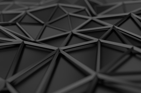 network design: Abstract 3d rendering of black surface. Background with futuristic low poly shape.