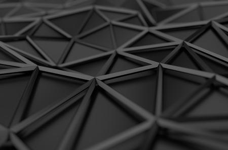 Abstrakt 3D-Rendering von schwarzen Oberfläche. Hintergrund mit futuristischen Form Low-Poly.