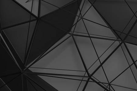 검은 색 표면의 추상 3d 렌더링합니다. 미래 낮은 폴리 모양 배경입니다.