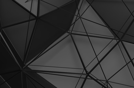Résumé de rendu 3D de la surface noire. Contexte avec une faible forme poly futuriste. Banque d'images - 44121348