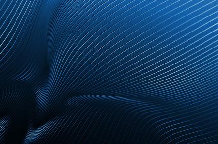 Resumen representación 3D de la estructura metálica de alta tecnología. Fondo oscuro con líneas cromadas en el espacio vacío. Perfil de acero futurista. Foto de archivo - 46484115