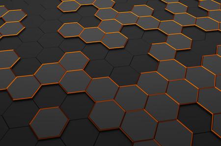 perspectiva lineal: Resumen representaci�n 3D de superficie futurista con hex�gonos. Fondo oscuro de la ciencia ficci�n. Foto de archivo