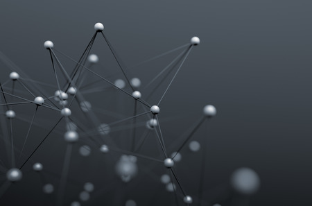 Abstract 3d rendering of chaotic structure. Background with lines and spheres in empty space. Futuristic shape. 스톡 콘텐츠