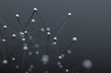 Abstrakt 3d-rendering chaotische Struktur. Hintergrund mit Linien und Kugeln im leeren Raum. Futuristische Form. Lizenzfreie Bilder
