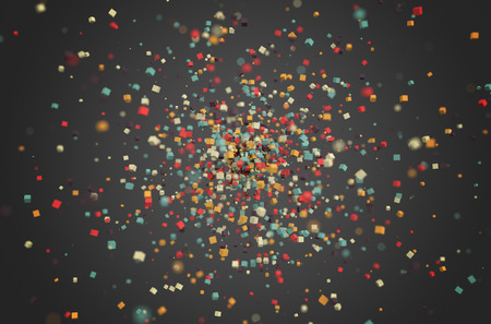 Abstract 3d rendering of chaotic particles. Colored cubes in empty space. Multicolour background.