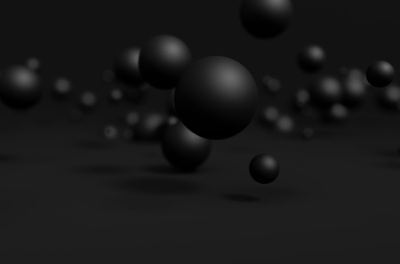 Abstract 3d rendering of chaotic particles. Black spheres in empty space. Futuristic background.