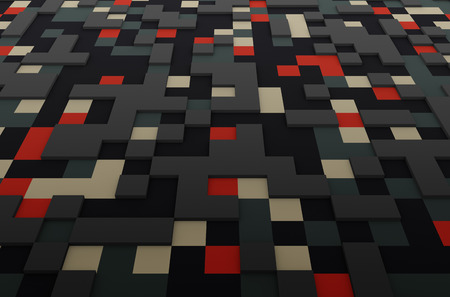 perspectiva lineal: Abstract 3d rendering of colored surface with squares. Sci-fi background. Foto de archivo