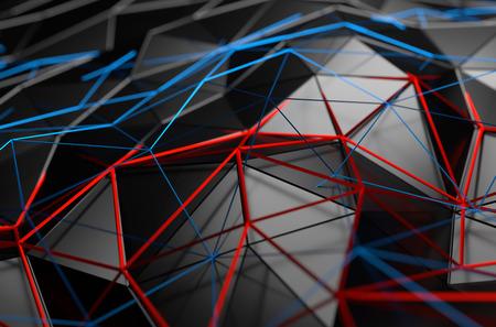 Estratto rendering 3D della superficie nera. Sfondo con futuristico forma poli basso. Archivio Fotografico - 44121362