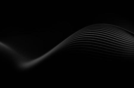 Abstrakt 3d-rendering von schwarzen Linien. Dunkler Hintergrund mit futuristischen Form.