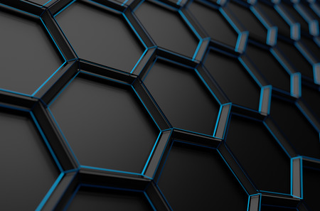 low perspective: Abstract 3d rendering of futuristic surface with hexagons. Dark sci-fi background.
