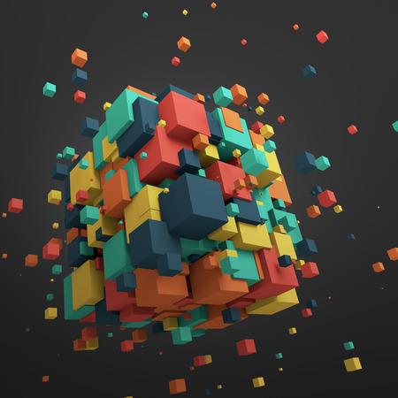 混沌とした粒子の 3 d レンダリングを抽象化します。空の領域に色付きの立方体です。カラフルな背景。