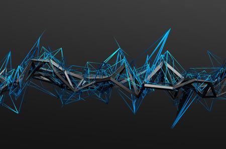 혼란 구조의 추상 3d 렌더링. 빈 공간에서 미래 지향적 인 형태와 어두운 배경입니다. 스톡 콘텐츠