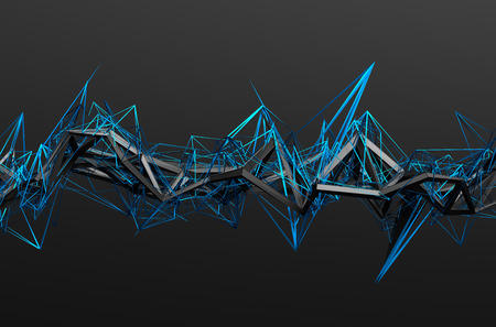chaotic: Abstract 3d rendering of chaotic structure. Dark background with futuristic shape in empty space.
