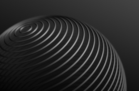 Abstract 3d rendering of high tech metal structure. Dark background with chrome lines in empty space. Futuristic steel sphere.