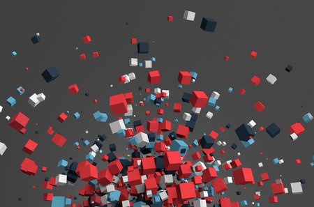 coloured: Abstract 3d rendering of chaotic particles. Colored cubes in empty space. Colorful background.
