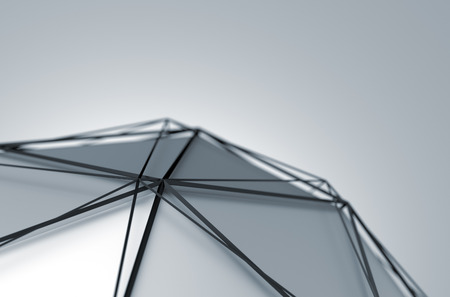 Abstract 3d rendering of futuristic shape. Background with fragment of low poly sphere and wireframe. 写真素材