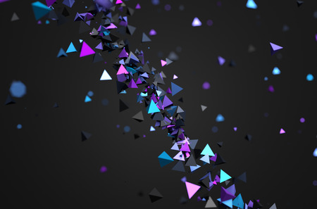 Abstract 3d rendering of chaotic particles. Futuristic pyramids in empty space. Sci-fi background. Banco de Imagens - 44246223