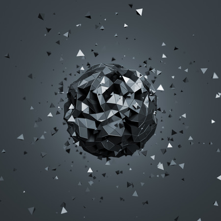 Abstract 3d rendering of low poly sphere with particles. Sci-fi background with globe in empty space. Futuristic shape.