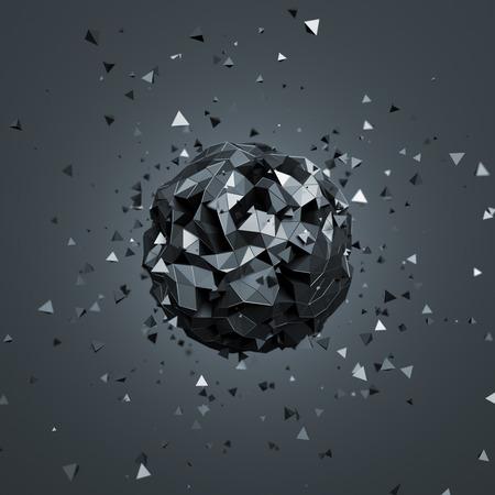 Résumé de rendu 3D de faible sphère poly avec des particules. Sci-fi fond avec un globe terrestre dans l'espace vide. Forme futuriste. Banque d'images - 44246229
