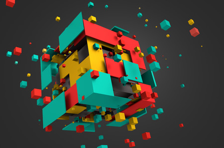 Abstract 3d rendering of chaotic particles. Colored cubes in empty space. Colorful background.