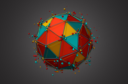 3d ball: Abstract 3d rendering of colored sphere with particles. Colorful background with wireframe and globe in empty space.