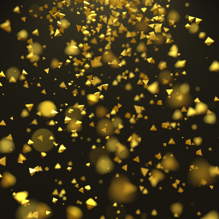 background abstraction: Abstract 3d rendering of chaotic particles. Yellow pyramids in empty space. Futuristic background.