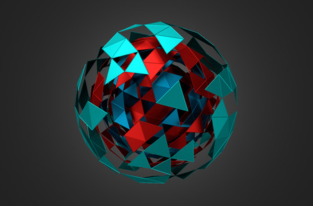 Abstract 3d rendering of low poly metal sphere with chaotic structure. Sci-fi background with wireframe and globe in empty space. Futuristic shape.
