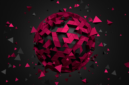 Abstract 3d rendering of low poly sphere with chaotic structure. Sci-fi background with globe in empty space. Futuristic shape.