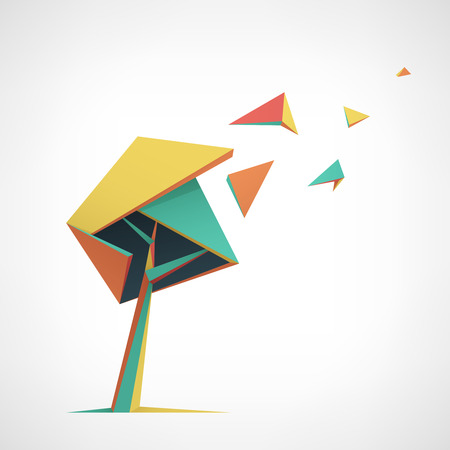 abstract tree: Conceptual polygonal tree. Abstract vector Illustration, low poly style. Stylized design element. Background design for banner, poster, flyer. Logo design.