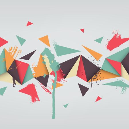 fondo geometrico: Vector de fondo. Ilustraci�n de la textura abstracto con tri�ngulos. Patr�n de dise�o para la bandera, cartel, folleto. Dibujado a mano chapoteo de la pintura de acuarela.