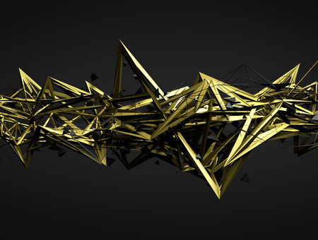 abstract shape: Abstract 3d rendering of chaotic structure. Dark background with futuristic shape in empty space.