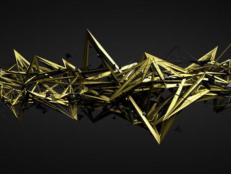 Résumé de rendu 3D de la structure chaotique. Fond sombre avec une forme futuriste dans l'espace vide. Banque d'images - 44786228